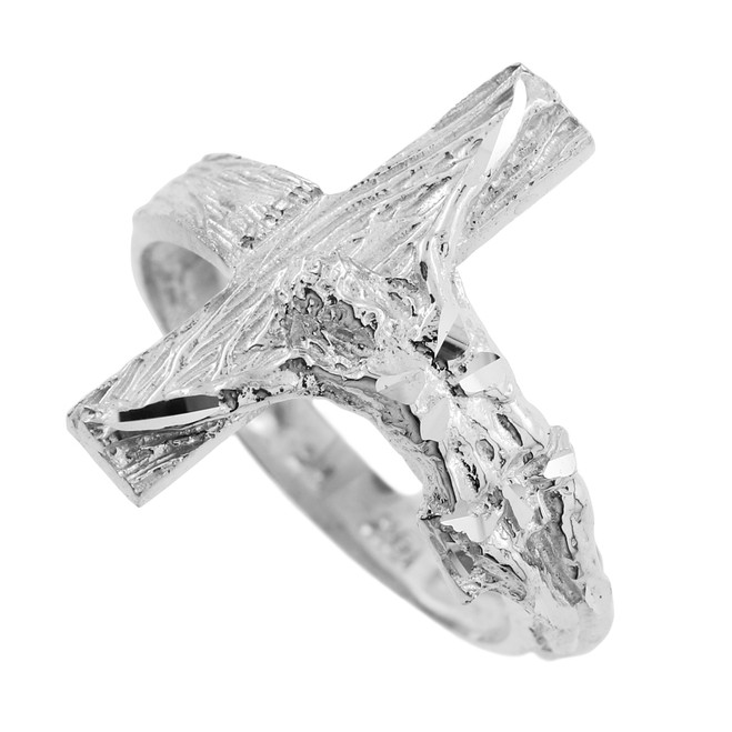 Textured White Gold Crucifix Ring