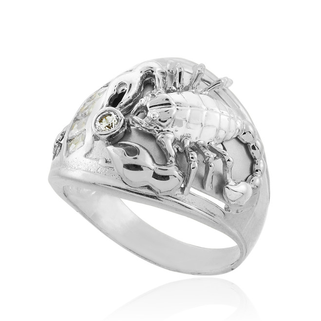 Men's Sterling Silver Scorpion CZ Ring