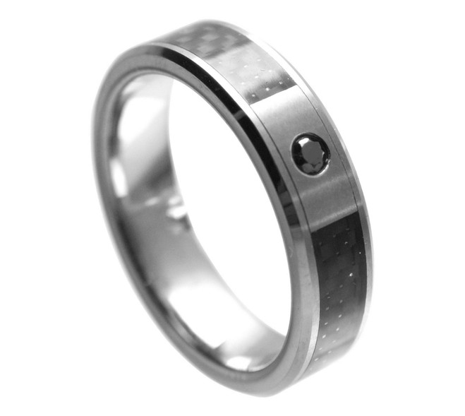 Women's Tungsten Carbide Ring with Black Diamond (6mm)