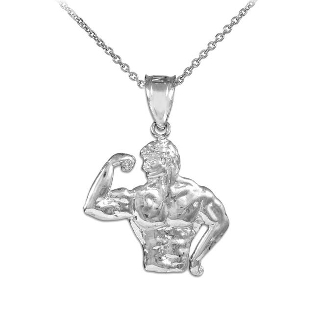 White Gold Bodybuilder Charm Sports Pendant Necklace
