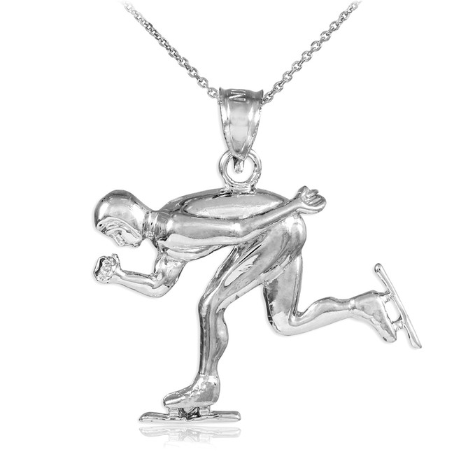 White Gold Ice Skating/Speed Skater Charm Sports Pendant Necklace