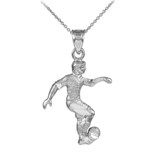 White Gold Soccer Player Sports Pendant Necklace