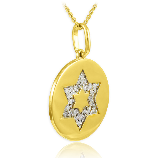 14K Polished Gold Medallion Star of David Diamond Pendant Necklace