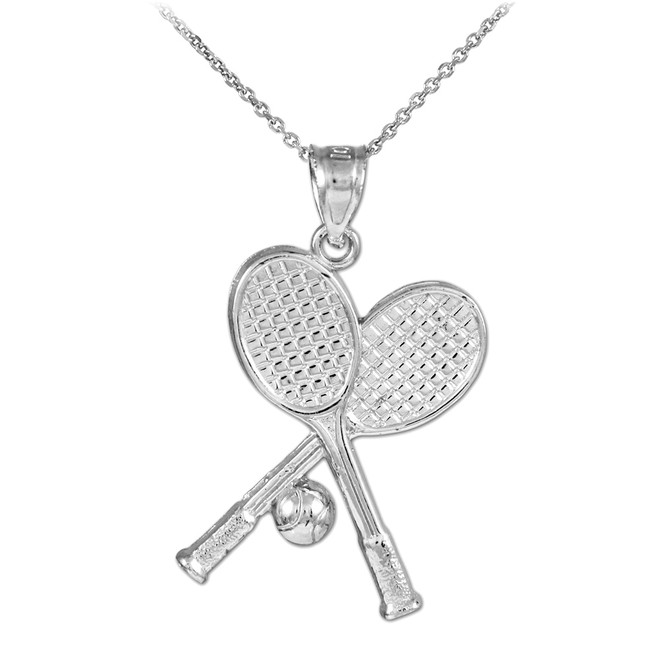 Tennis Racquets and Ball White Gold Charm Sports Pendant Necklace