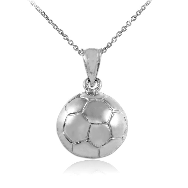 Soccer Ball White Gold Sports Charm Pendant Necklace