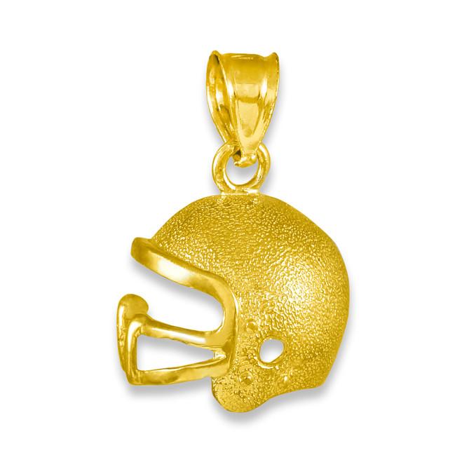 Gold Football Helmet Charm Pendant Necklace