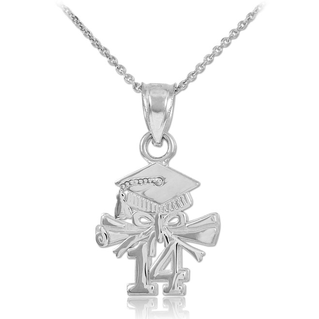 White Gold 2014 Graduation Charm Necklace