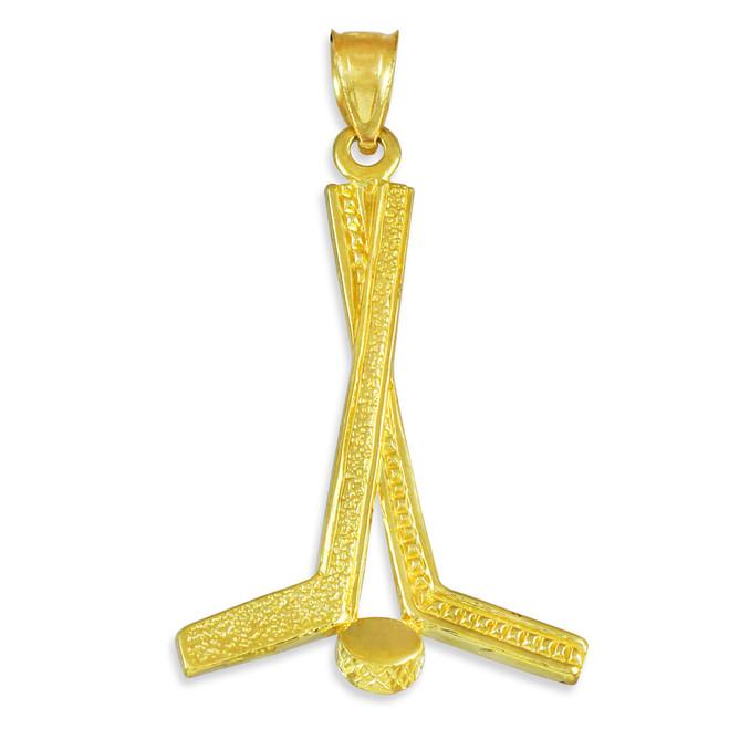 Gold Hockey Sticks Sports Pendant Necklace