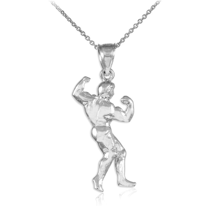 Full Bodybuilder White Gold Sports Pendant Necklace