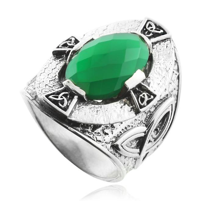 Green Stone Silver Celtic Trinity Ring