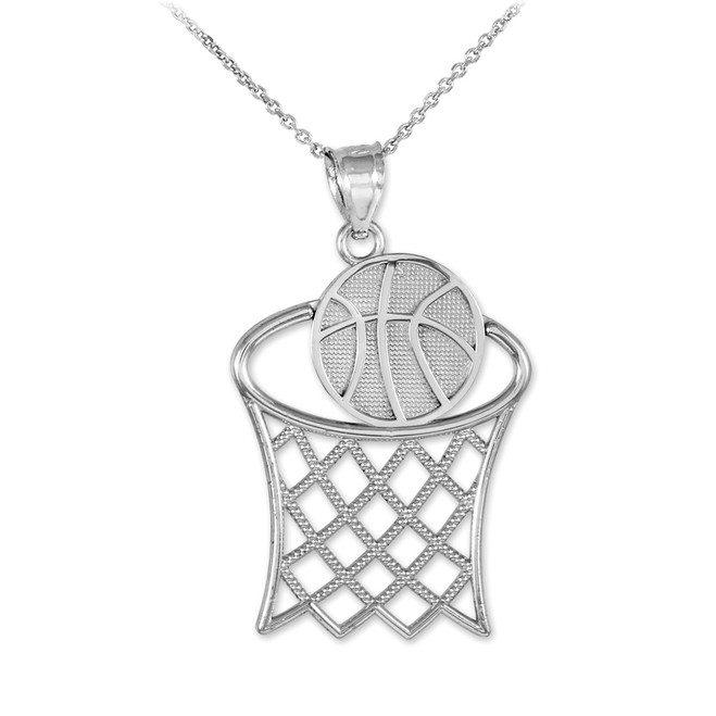 Basketball Hoop White Gold Sports Pendant