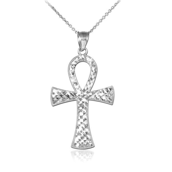 Ankh Cross White Gold Pendant Necklace