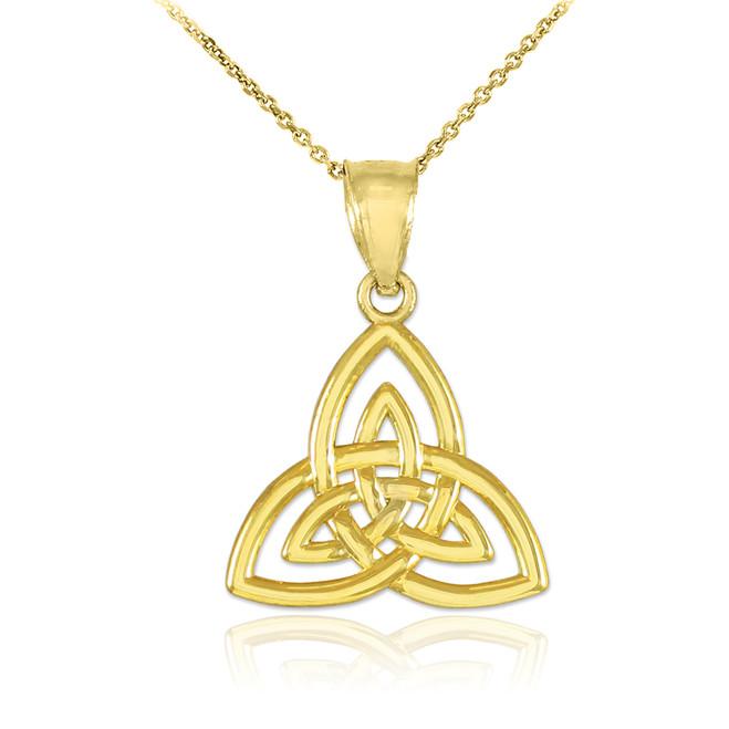Gold Celtic Knot Charm Triquetra Pendant Necklace