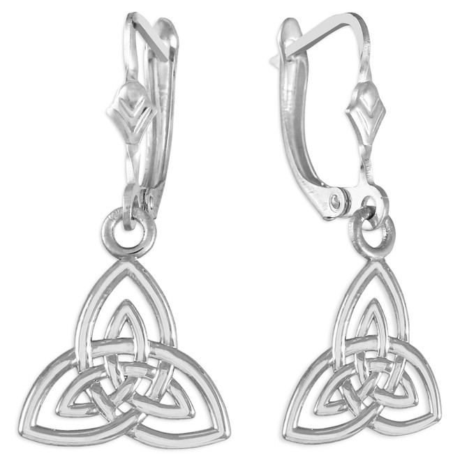 Trinity Knot White Gold Earrings