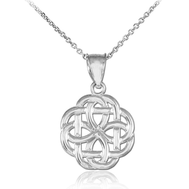White Gold Trinity Knot Charm Pendant Necklace