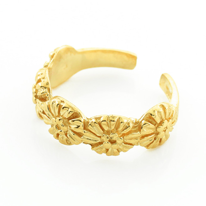 Gold Floral Toe Ring