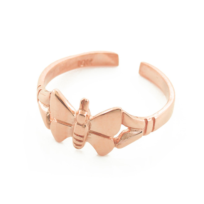 rose gold butterfly toe ring. available in 10kt or 14kt. made in the USA.