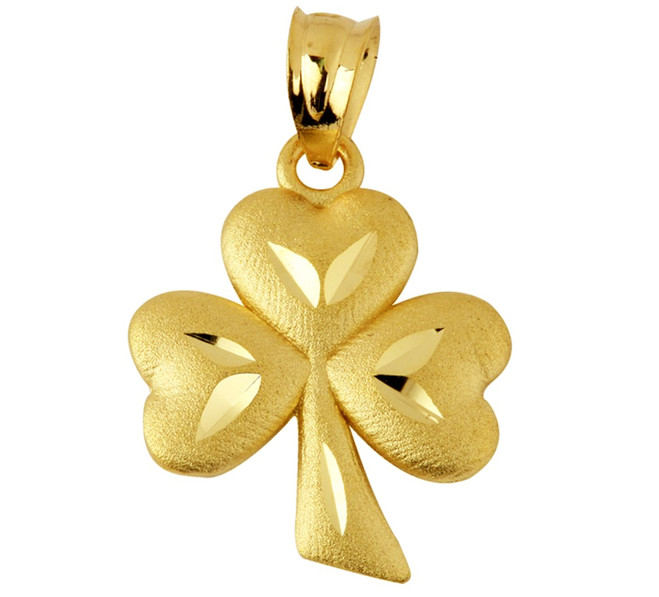 Clover Leaf Celtic Gold Pendant