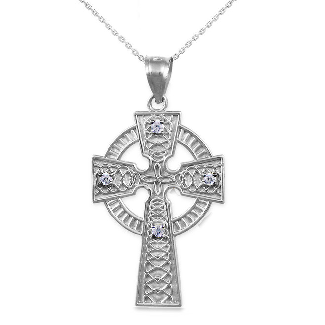 Sterling Silver Celtic Cross Diamond Pendant Necklace