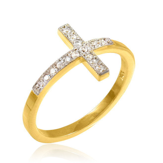 Gold CZ Pave Sideways Cross Ring