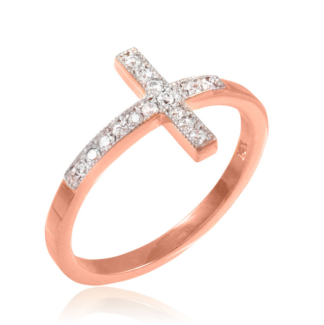 Rose Gold Diamond Pave Sideways Cross Ring
