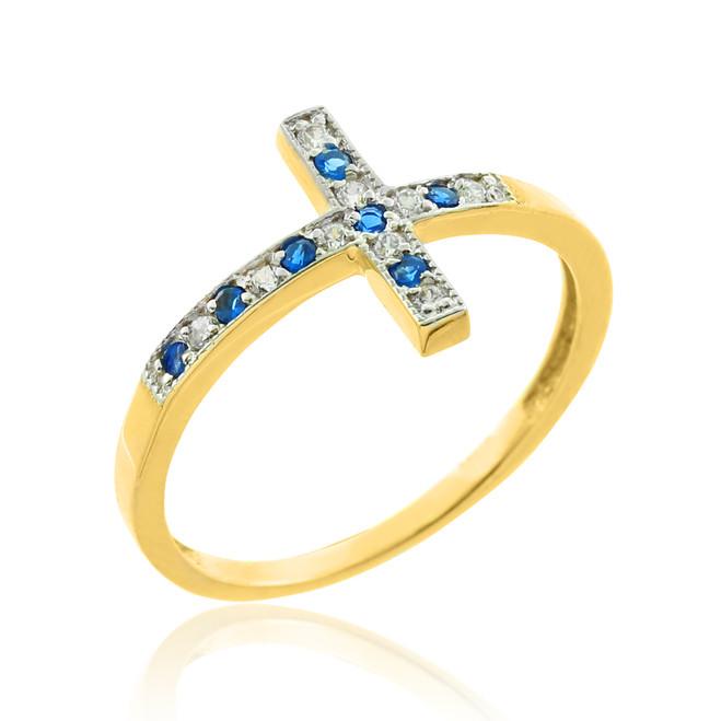 Gold Diamond Sideways Cross Ring with Sapphire