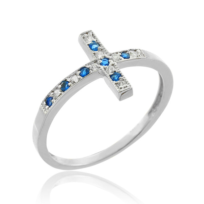 White Gold Diamond Sideways Cross Ring with Sapphire