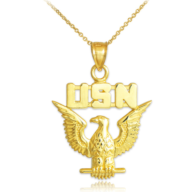 Gold US Navy Pendant Necklace