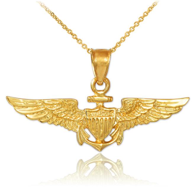 US Naval Aviator Gold Pendant Necklace