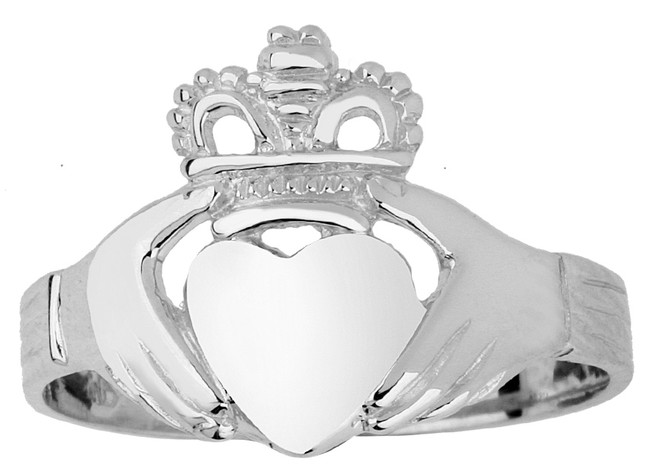 White Gold Claddagh Ring Ladies Traditional.  Available in 14k or 10k White Gold.