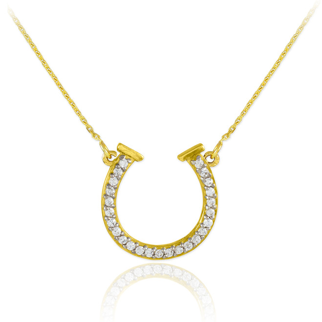 14K Gold CZ Horseshoe Necklace