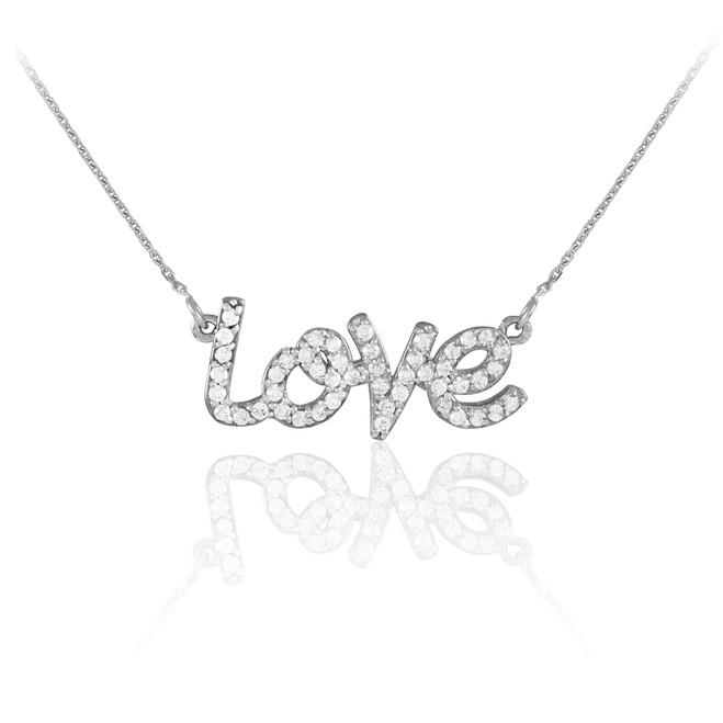 "14K White Gold ""Love"" CZ Necklace"
