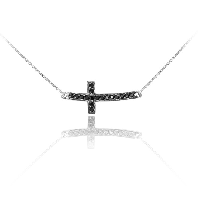 14K White Gold Black Diamond Sideways Cute Curved Cross Necklace
