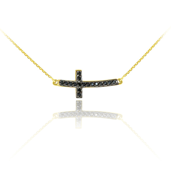 14K Gold Sideways Curved Cross Black CZ Cute Necklace