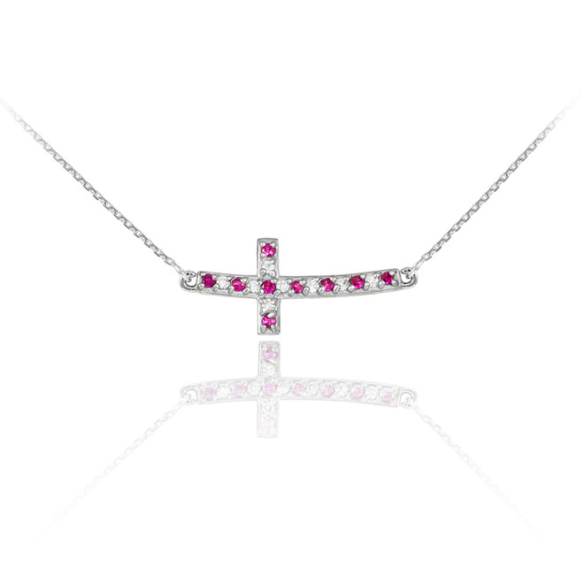 14K White Gold Cute Sideways Curved Cross Red and Clear CZ Necklace