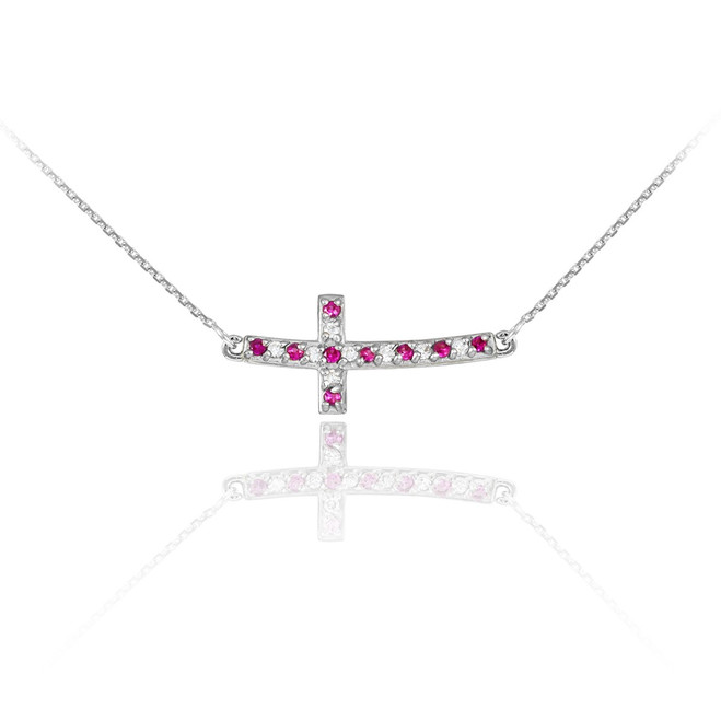 14k White Gold Diamond and Ruby Sideways Curved Cross Necklace