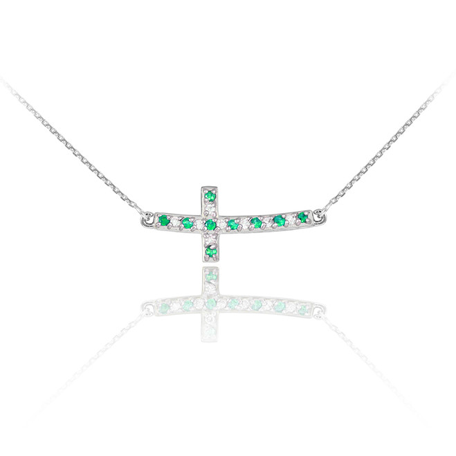 14k White Gold Diamond and Emerald Sideways Curved Cross Necklace