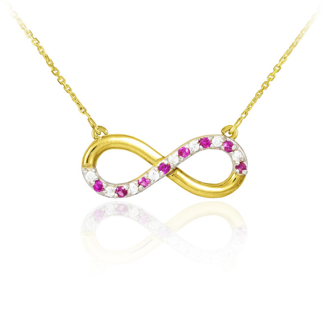 Infinity Pendant 14k Polished Gold Clear & Red CZ Necklace