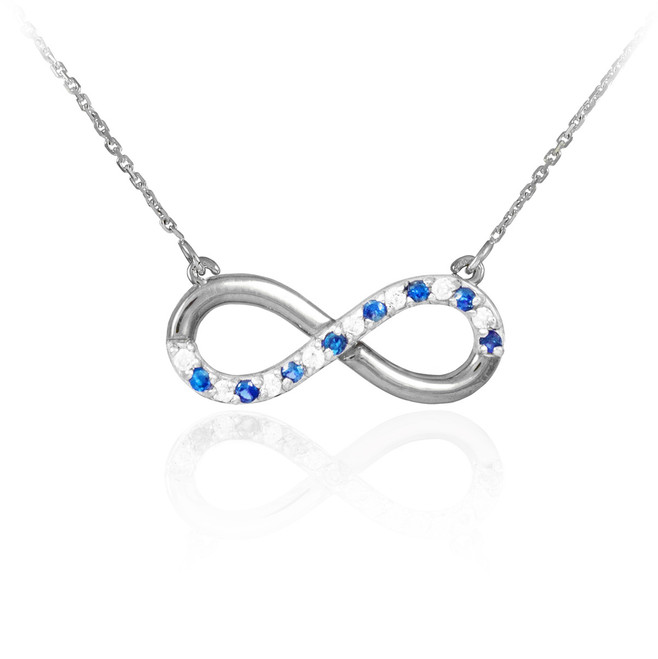 Infinity Pendant Sterling Silver Clear & Blue CZ Accents Necklace