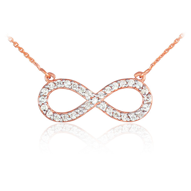 14K Rose Gold Infinity Clear CZ Pendant Necklace