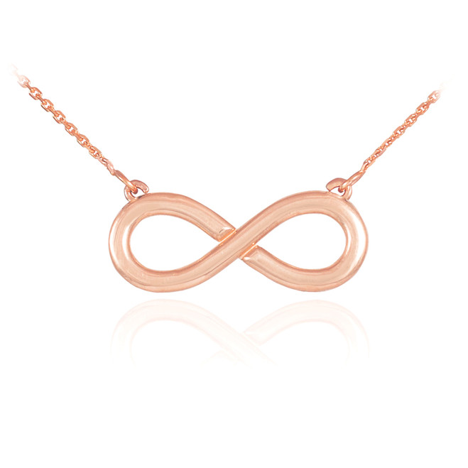 14K Polished Solid Rose Gold Infinity Pendant Necklace