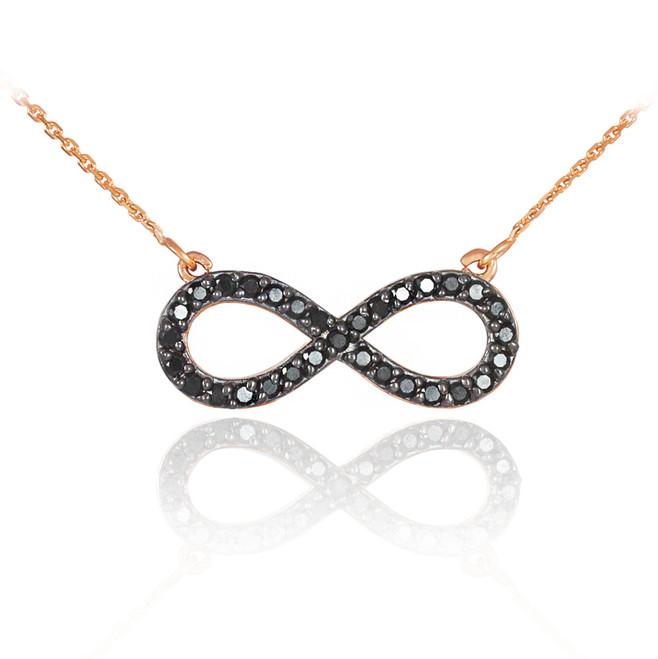 14K Rose Gold Black Diamond Infinity Necklace