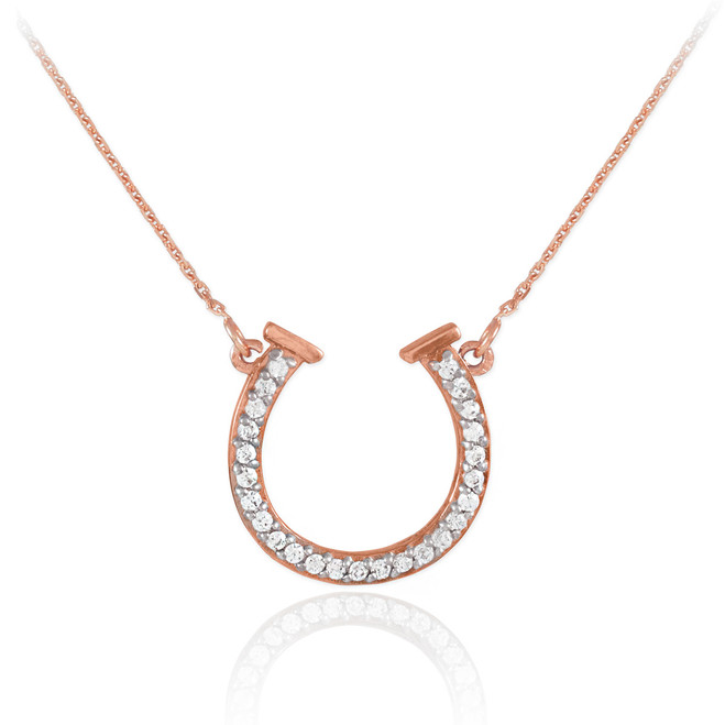 14K Rose Gold Diamond Horseshoe Necklace