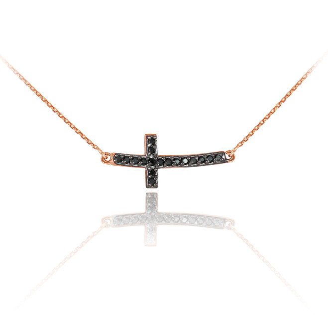 14K Rose Gold Sideways Curved Cross Black Diamond Cute Necklace