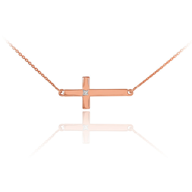 14K Rose Gold Sideways Cross Cute Diamond Necklace