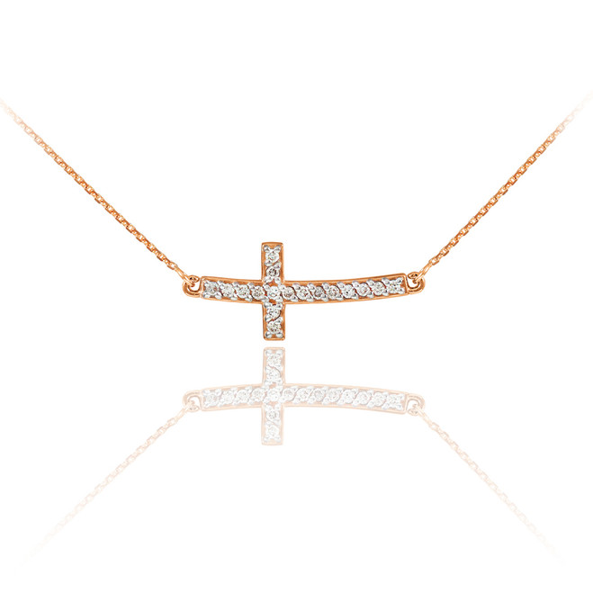 14K Rose Gold Sideways Diamond Cute Curved Cross Necklace