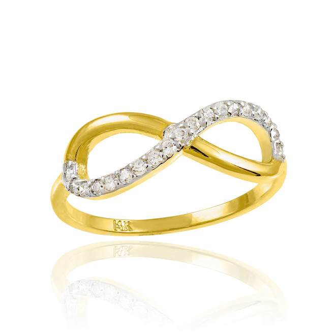 Gold Infinity Ring with CZ