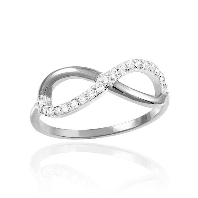 Silver Infinity Ring with CZ