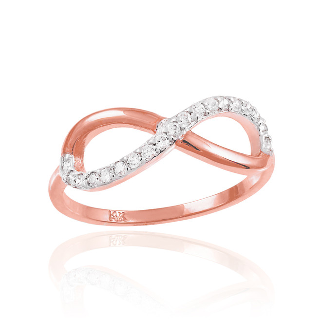 Rose Gold Infinity Ring with CZ