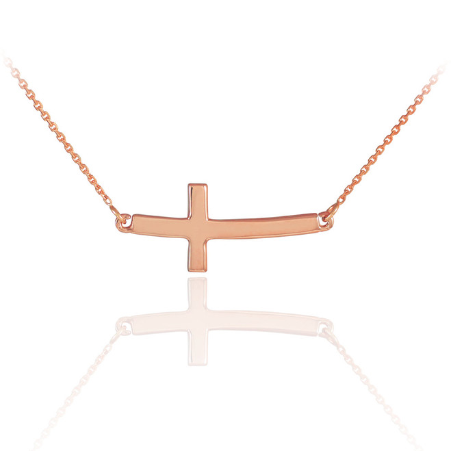 14K Solid Rose Gold Sideways Curved Cute Cross Necklace